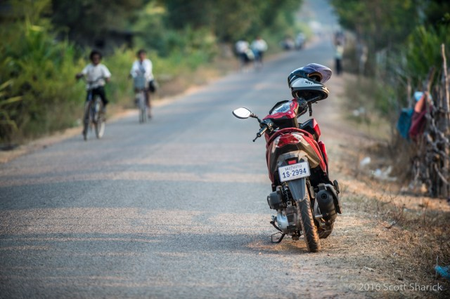 Parking along a rural Cambodian road.