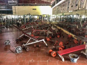 You will have to use old equipment when you workout at Monorom Gym in Battambang Cambodia
