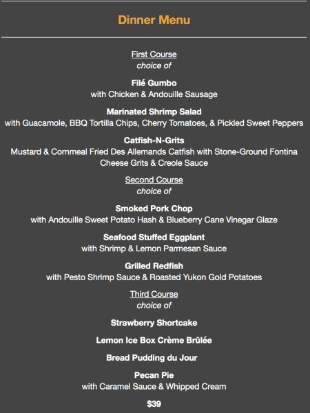 DINNER menu from Brigtsen's during New Orleans COOLinary experience. A great event in New Orleans to do as a couple or with friends.