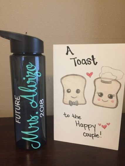 handmade card and personalized water bottle for wedding