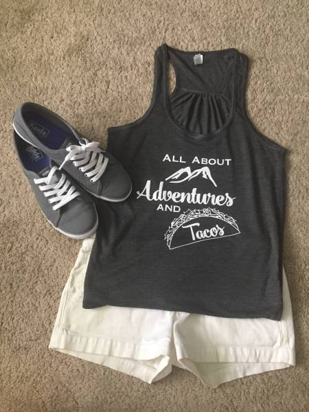 all about adventures and tacos t-shirt
