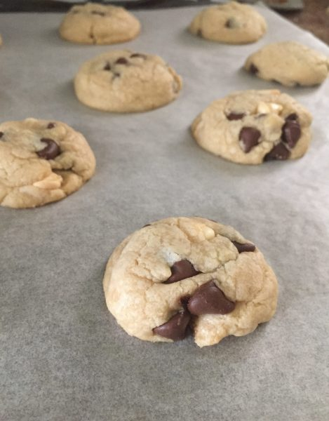 Triple chocolate chip cookies makes regular chocolate chip cookies 3x better with smooth white chocolate, sweet milk chocolate and rich dark chocolate. A perfect balance of sweetness.
