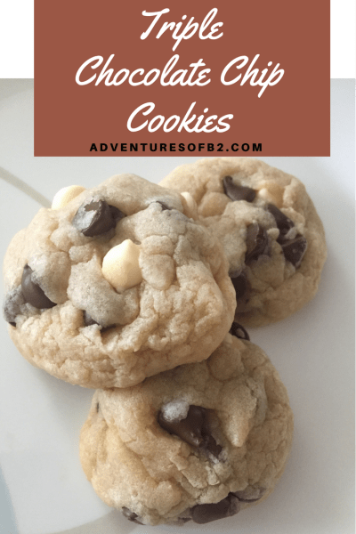 Triple Chocolate chip cookies make regular chocolate chip cookies 3x better and are a delicious sweet treat #cookies #cookierecipe #triplechocolate #dessertrecipe