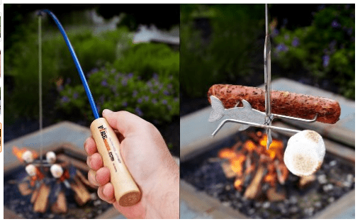 Combine two of a man's favorite things and you got yourself a fishing pole for roasting hotdogs or marshmallows over the campfire.