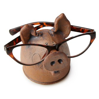 wooden pig eye glass holder