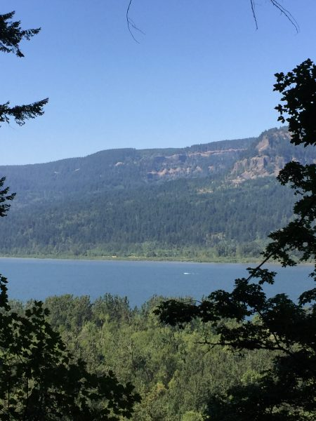 Stunning mountain views in oregon as you hike in the gorge pass horsetail falls.