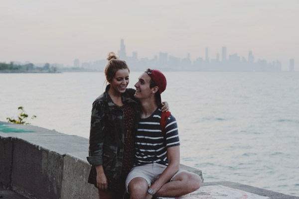 couple with city background