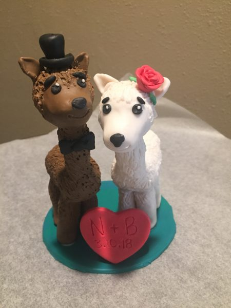 llama wedding cake topper using polymer clay before it's baked is such a cute idea for weddings, birthdays or anniversaries.