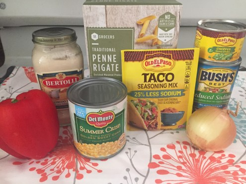 Ingredient for making Southwest Chicken pasta. A quick one pot meal that is a perfect dinner for busy weeknights.