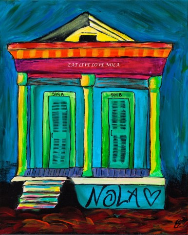 Colorful New Orleans Shotgun House art print by EatLiveLoveNOLA. A vibrant way to look at the city of New Orleans