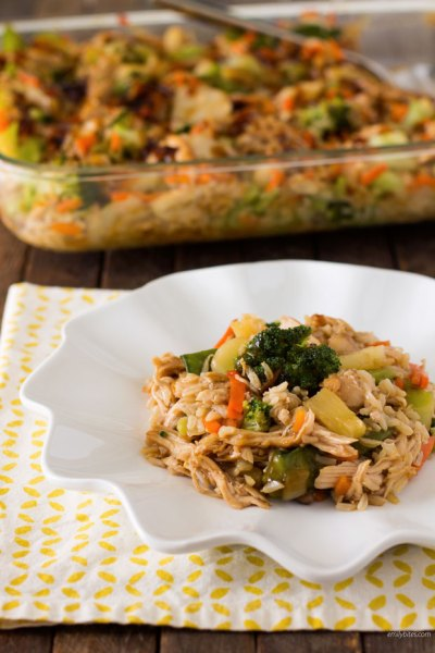 Teriyaki-Chicken-and-Rice-Casserole from emily bites