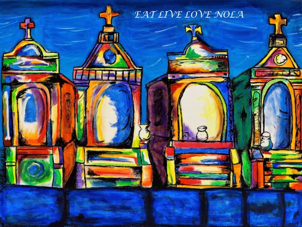 Colorful New Orleans cemetery print. A vibrant cemetery painting to capture the essence of New Orleans