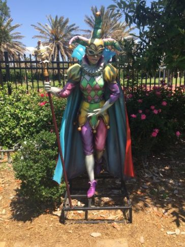 Mardi Gras Jester at the City Park putt putt course in New Orleans