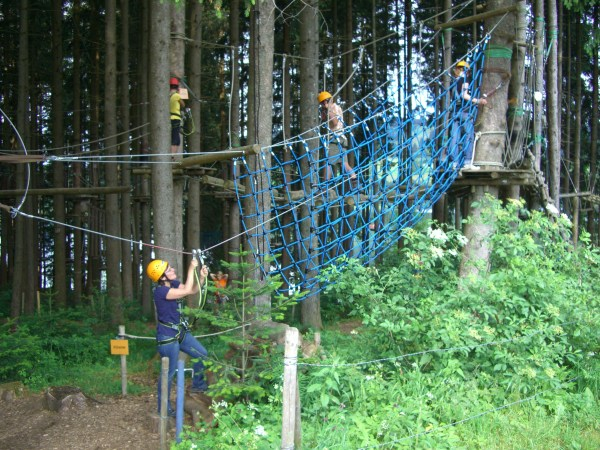 Go on an active adventure and climb to new heights in a ropes course