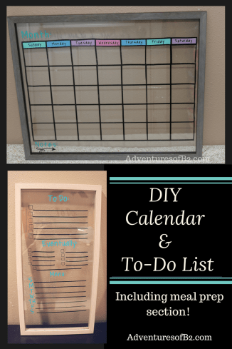 DIY calendar and to do list that includes space for meal planning. This simple DIY calendar tutorial is perfect for get your life organized and focused on your goals at home.