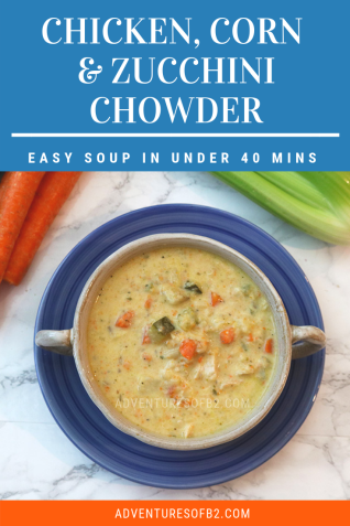 Simple and Delicious Chicken, Zucchini and Corn Chowder is a creamy flavorful soup packed with tons of vegetables. This soup can be made in under 40 minutes making it a perfect meal for busy weeknights.