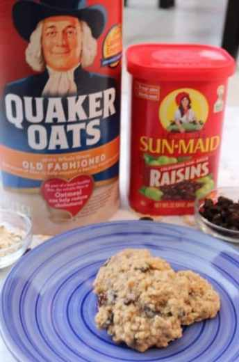 Quaker oats and sun-maid raisins are what makes this recipe the BEST! Soft and chewy oatmeal raisin cookies are a family favorite! This classic cookie combines delicious oatmeal and sweet raisins with a dash of cinnamon together for the best cookie recipe ever. - Adventuresofb2.com