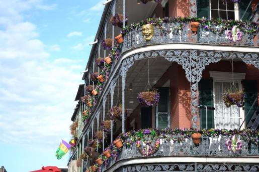 French Quarter all decorated for Mardi Gras.