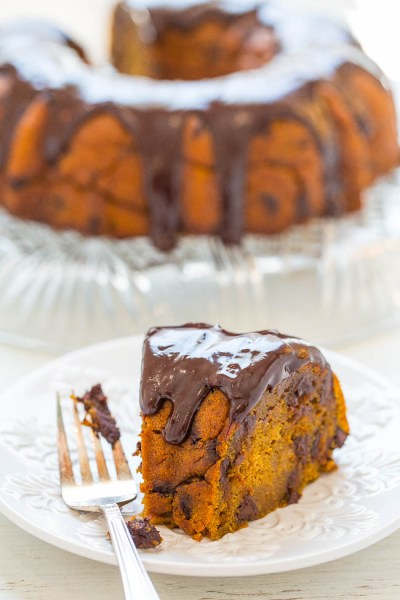 pumpkin chocolate bundt cake from averie cooks