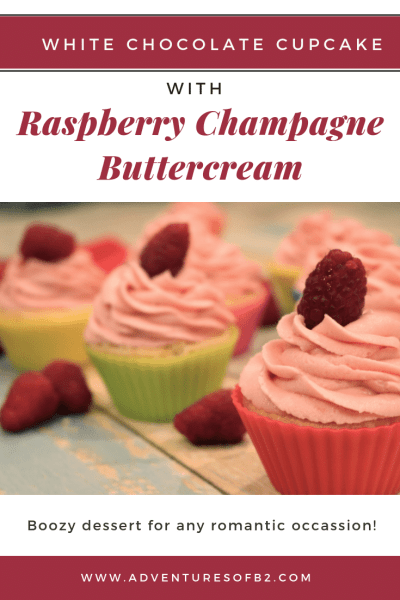 White chocolate cupcake with raspberry champagne buttercream. The ultimate boozy dessert for any romantic occassion! Whip these up for Valentine's Day or an anniversary or share with friends at New Years for the ultimate celebration!