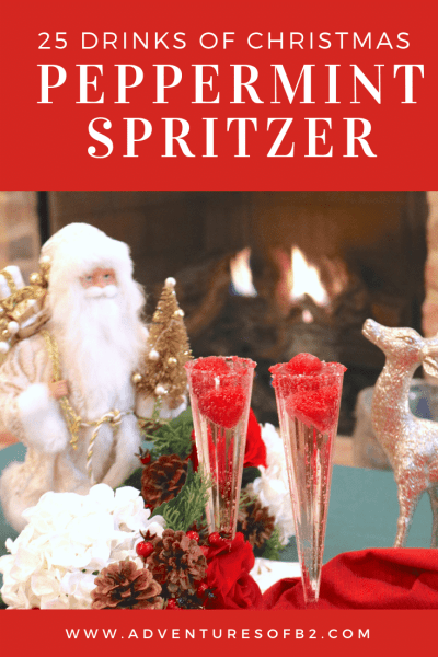 Peppermint Spritzer is a light bubbly cocktail made with champagne, peppermint schnapps and creme de cacao. Surprise your guests with these delicious Christmas cocktails! #champagne #peppermint #christmasdrinks #holidaycocktails