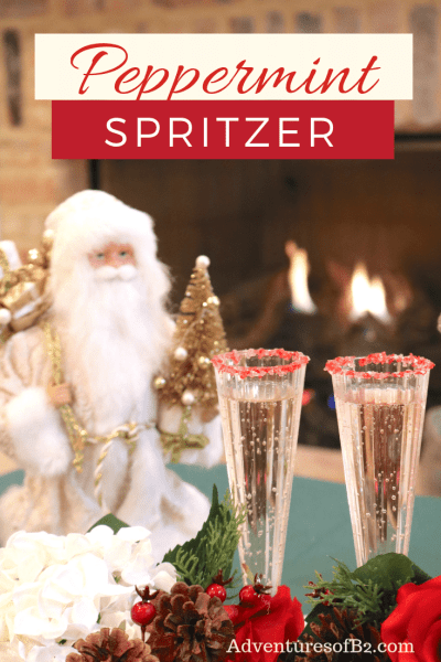 Peppermint Spritzer is a light minty Christmas cocktail made with peppermint schnapps, creme de cacao and champagne. A delightful cocktail to share at your next holiday party! #holidaydrinks #christmascocktails #champagne