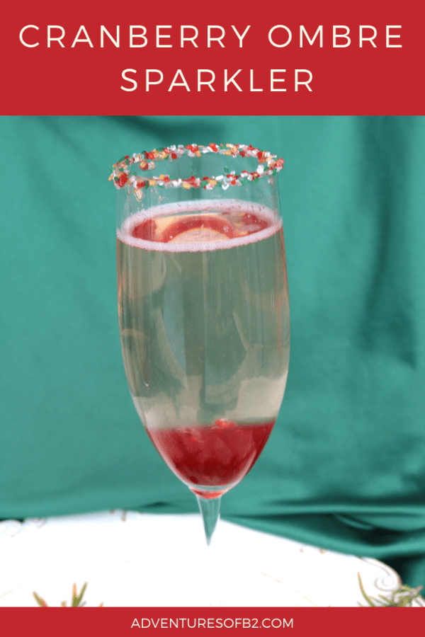 cranberry ombre sparkler is a delicious champagne sparkler with cranberry and champagne. A fantastic cocktail for your next holiday celebration! #valentinesday #holidaycocktail #champagne