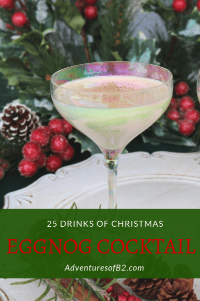 Celebrate Christmas with this classic holiday recipe! This eggnog cocktail combines all the flavors of eggnog, amaretto, and vodka for a delicious dessert martini #holidaydrinks #christmascocktails