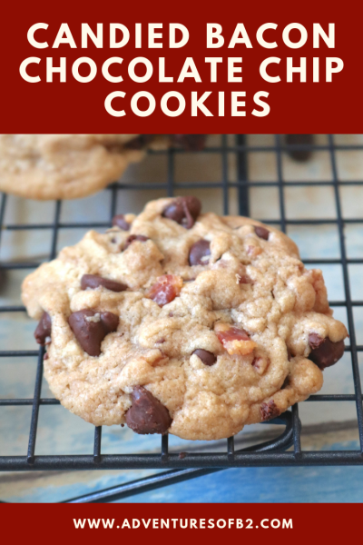 Candied Bacon Chocolate Chip Cookie - Candied Bacon Chocolate Chip Cookies are all your favorites in one cookie. A soft chewy cookie with bits of smoky bacon and sweet chocolate chips. A nice balance of salty and sweet in every bite! - AdventuresofB2.com #cookierecipe #bacon #chocolate #baconlovers