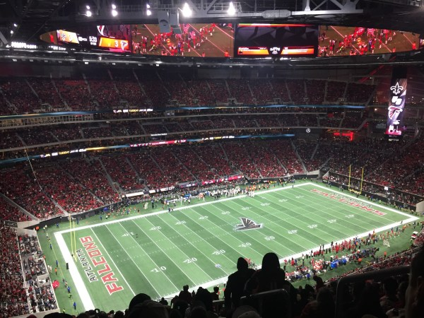 Inside the Atlanta Falcons stadium for the saints vs falcons game. One of the greatest rivals and at the top of list when visiting Atlanta! - Adventures of B2
