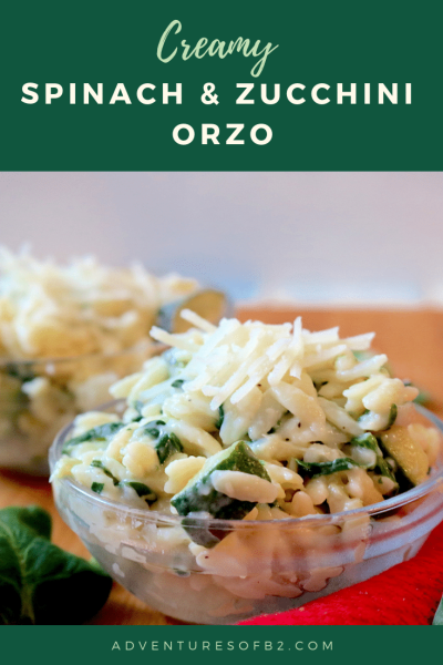 creamy spinach and zucchini orzo pasta is a light creamy pasta loaded with vegetables and sprinkled with cheese. A delightful pasta that compliments any meal.- Adventuresofb2.com #healthyrecipes #sidedish #pasta