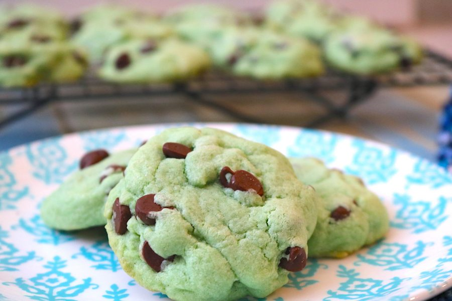 mint chocolate chip cookies are a light refreshing peppermint cookie with chunks of chocolate chips and tinted green to celebrate all the fun occasions like St. Patrick's Day, Christmas or Summer fun! Your favorite ice cream flavor in a soft fluffy cookie.- Adventuresofb2.com