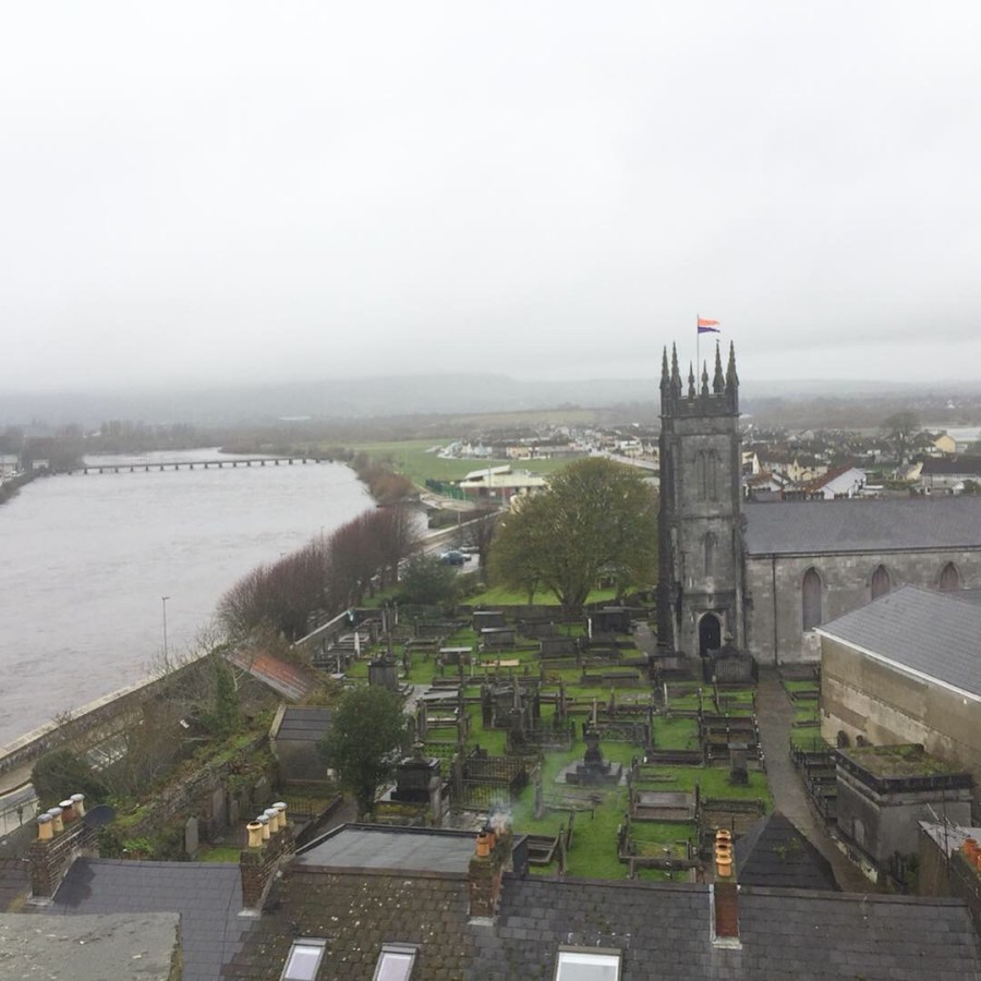A view of the city of Limerick from King John's castle. A fantastic stop along our road trip through Ireland! See the river Shannon run right through the heart of the city- adventuresofb2.com