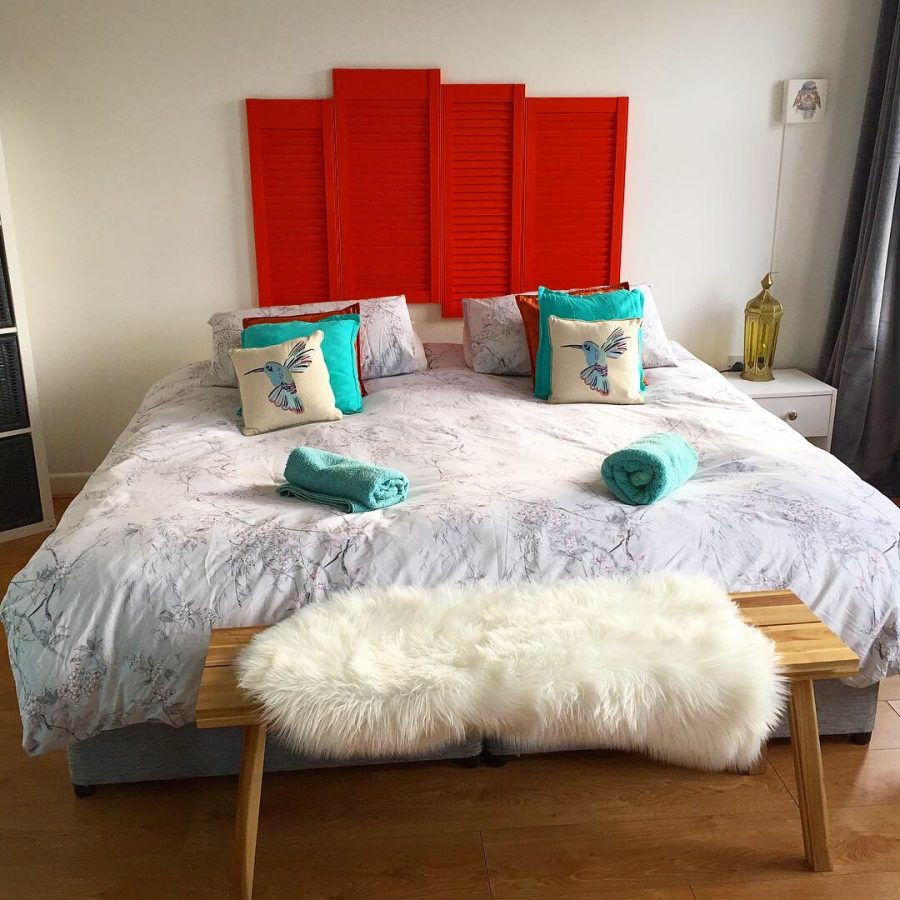 A fantastic airbnb room in the city of Galway, with a modern feel and bright pops of color. A perfect place to stay on our road trip through Ireland! - Adventuresofb2.com