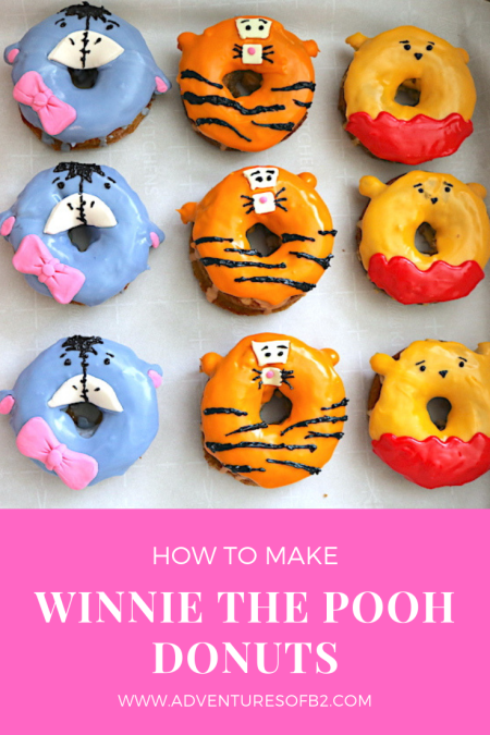 Winnie the Pooh donuts a step by step tutorial for making the most adorable doughnuts. Capture the magic of Piglet, Eeyore, Tigger and Pooh too with these creative doughnuts that perfect for a winnie the pooh party! - adventuresofb2.com