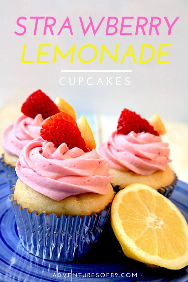 Quench your dessert cravings with this bright fruity cupcake! Strawberry Lemonade Cupcakes are the perfect summer dessert! A moist fluffy lemon cupcake with fresh strawberry buttercream on top! #lemonade #cupcakes #desserts #summerdessert - Adventuresofb2.com