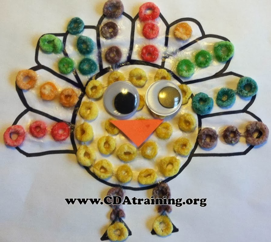 This thanksgiving craft is fun and educational. Work on your colors with your favorite cereal, fruit loops! Froot Loop Turkeys are a fun craft to do during the thanksgiving holidays! - adventuresofb2.com