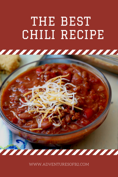 Homemade chili is the ultimate comfort food for cold winter nights. Thick and hearty with a side of spice! Filled with beans, meat, and vegetables for a wholesome meal your whole family will love! Serve with a variety of toppings or scoop it up with chips. #chilirecipe #dinnerrecipes #yum #soup - adventures of b2