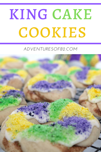 Let the good times roll this mardi gras season with these king cake cookies! A soft sugar cookie with cinnamon filling topped with icing and purple, green and gold sugar sprinkles. A fantastic mardi gras dessert to bring to any mardi gras parade or party! - adventuresofb2 #mardigras #kingcake #cookies #neworleans #parade