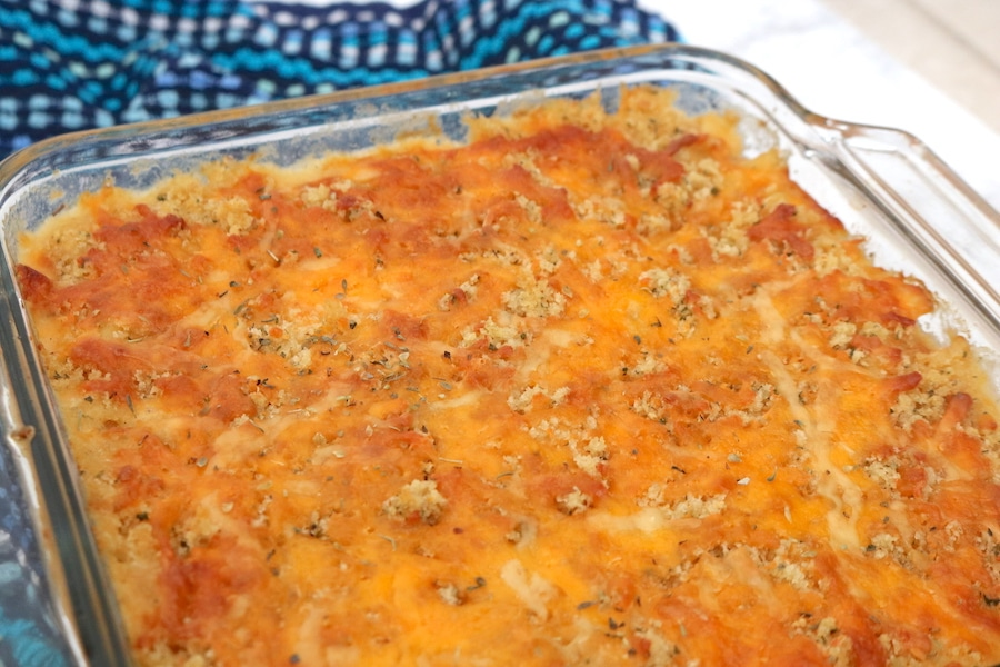 Homemade macaroni and cheese is a family favorite and classic for any holiday meal. Kids love it and it's so easy to make especially the crunchy cheesy topping! - adventuresofb2.com