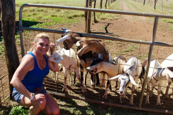 Me with goats on fence
