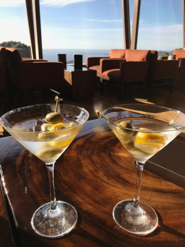 Two martinis with a view at The Hyatt Carmel Highlands.