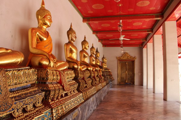 Golden buddhas in a shrine is just one of Ten reasons to visit Thailand.