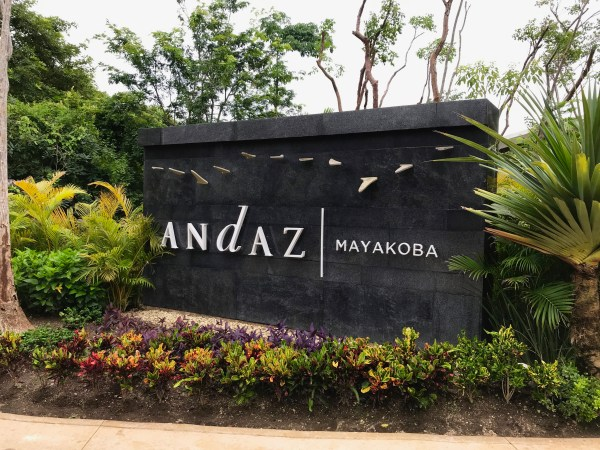 The sign of the Andaz Mayakoba Resort Riviera Maya.