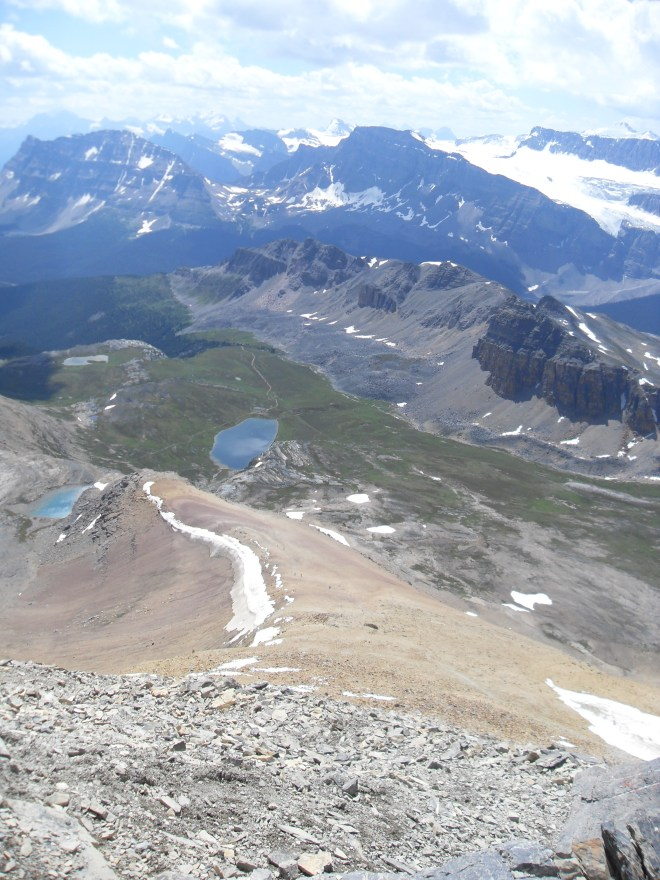 "The SW ridge, the way back down Cirque Peak, as seen from the top. ""Gnat Pond"" (L) and Helen Lake (Center L) far below."