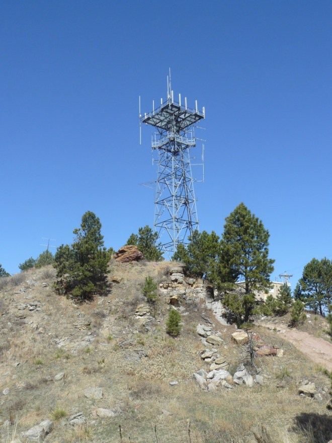 The Golden West telephone tower sits on a sub peak just W of the summit of Battle Mountain.