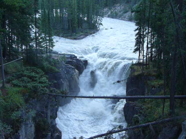 Sunwapta Falls. The Sunwapta River starts at the Athabasca Glacier and is a tributary of the Athabasca River.