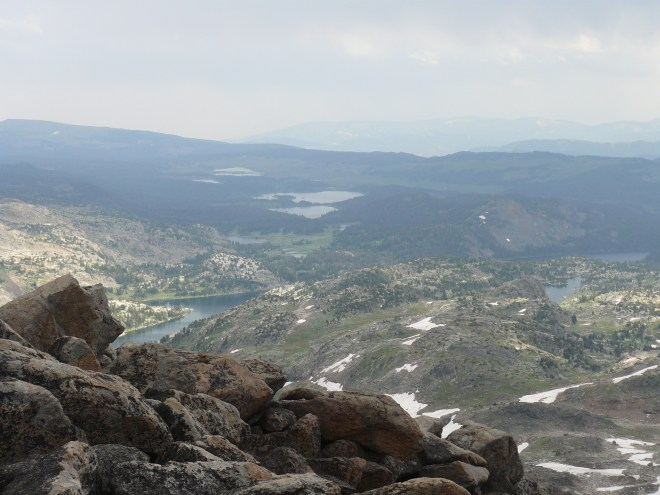 Looking S from Lonesome Mountain. Island Lake is the most distant larger lake toward the center. Part of Becker Lake is seen much closer on the left. Beauty Lake is on the right.