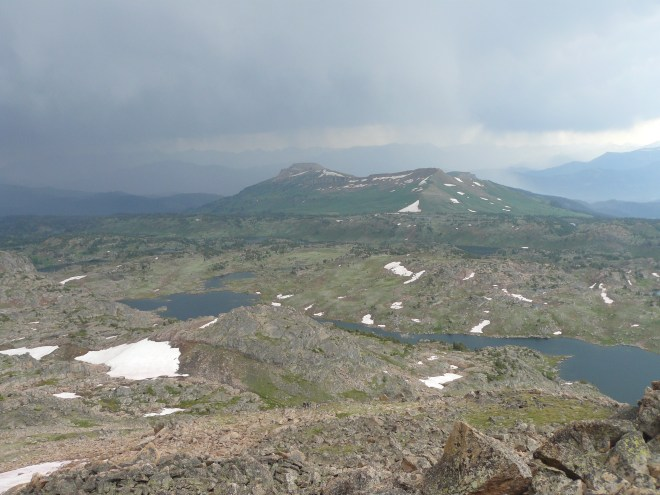 Beartooth Butte from Lonesome Mountain. The long skinny lake is Lonesome Lake.