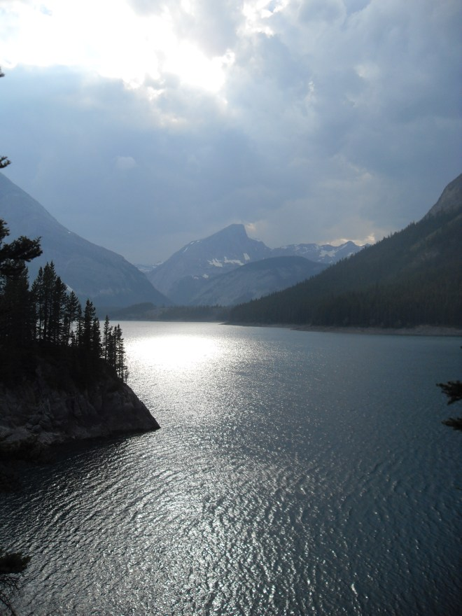 Evening at Upper Kananaskis Lake from near the collapsed section of trail.